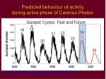 predicted behaviour of activity during active phase of coronas photon