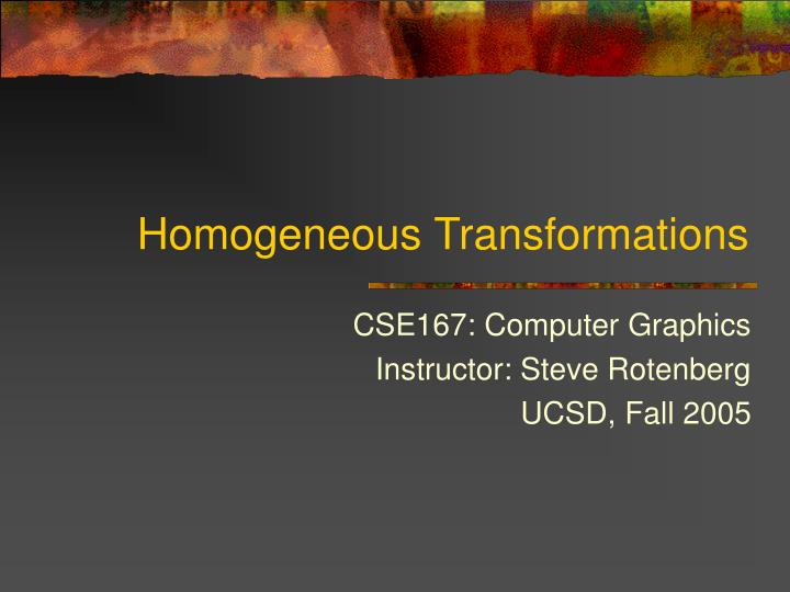 homogeneous transformations n.