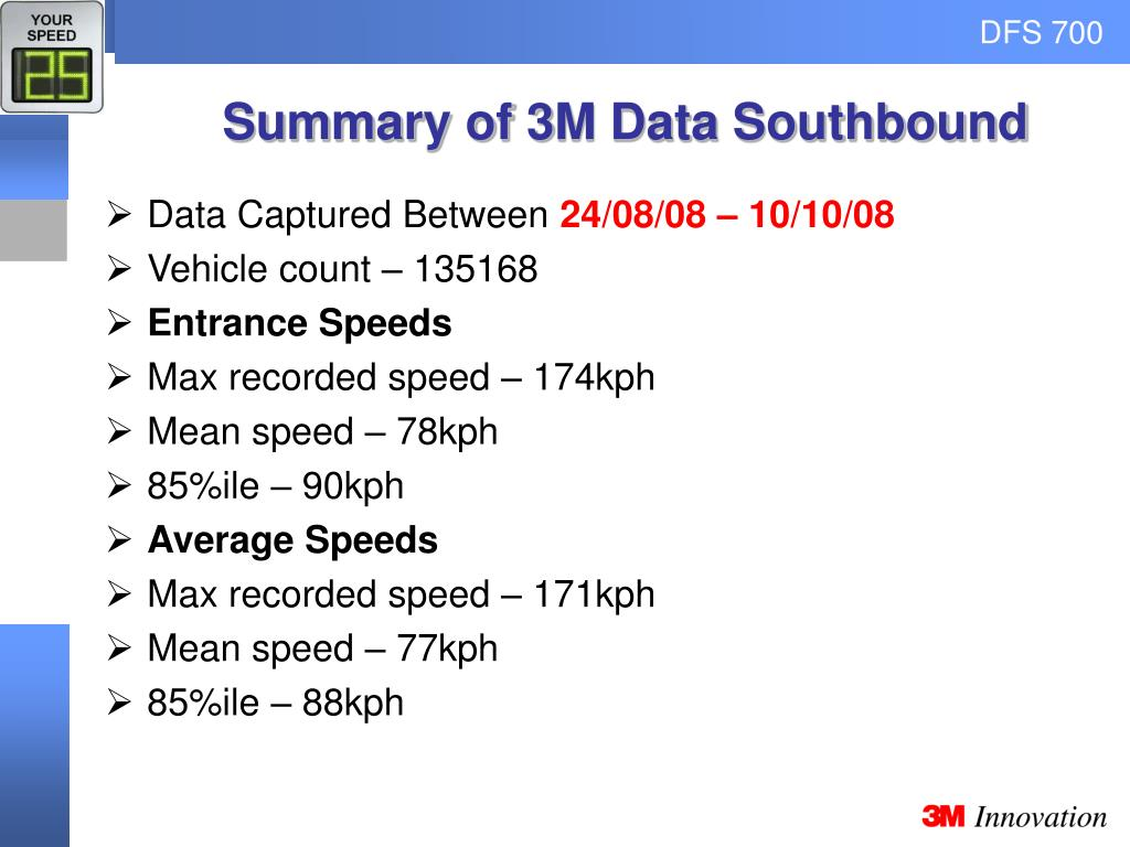 Summary of 3M Data Southbound