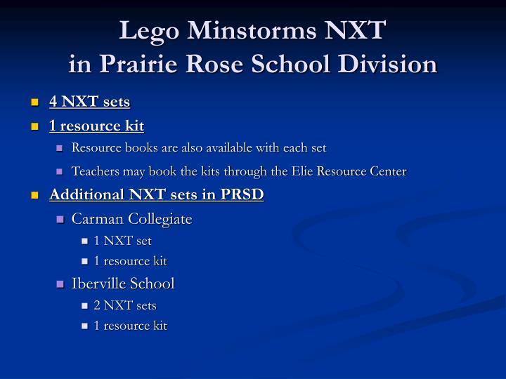 Lego minstorms nxt in prairie rose school division