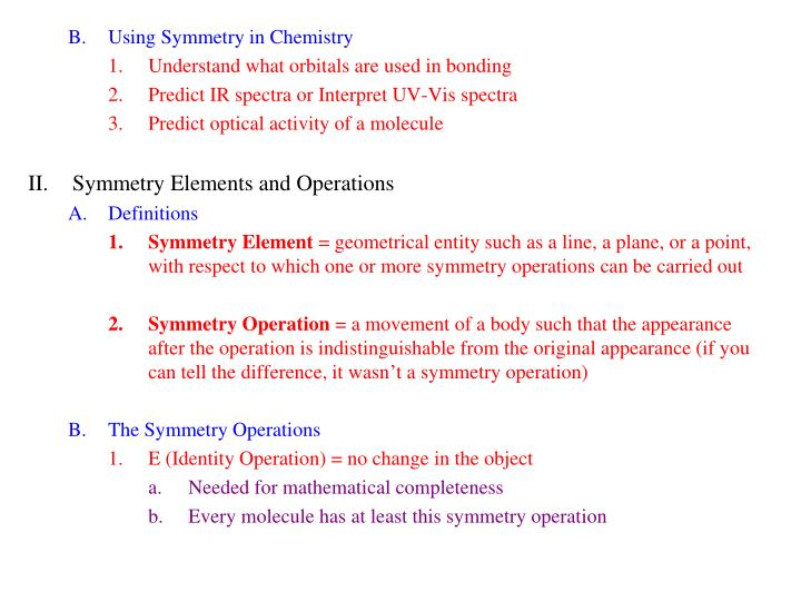 Using Symmetry in Chemistry