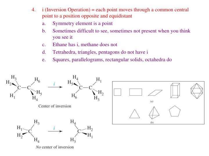 i (Inversion Operation) = each point moves through a common central point to a position opposite and equidistant