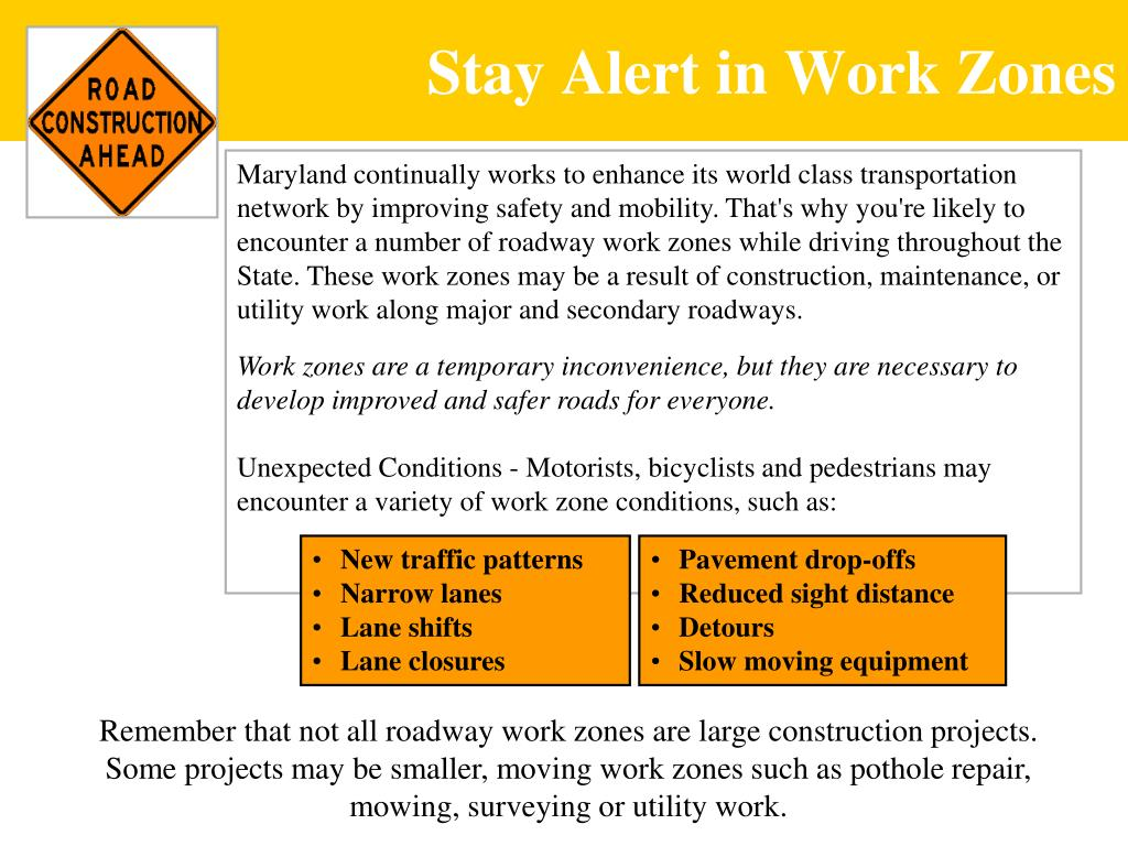 Stay Alert in Work Zones