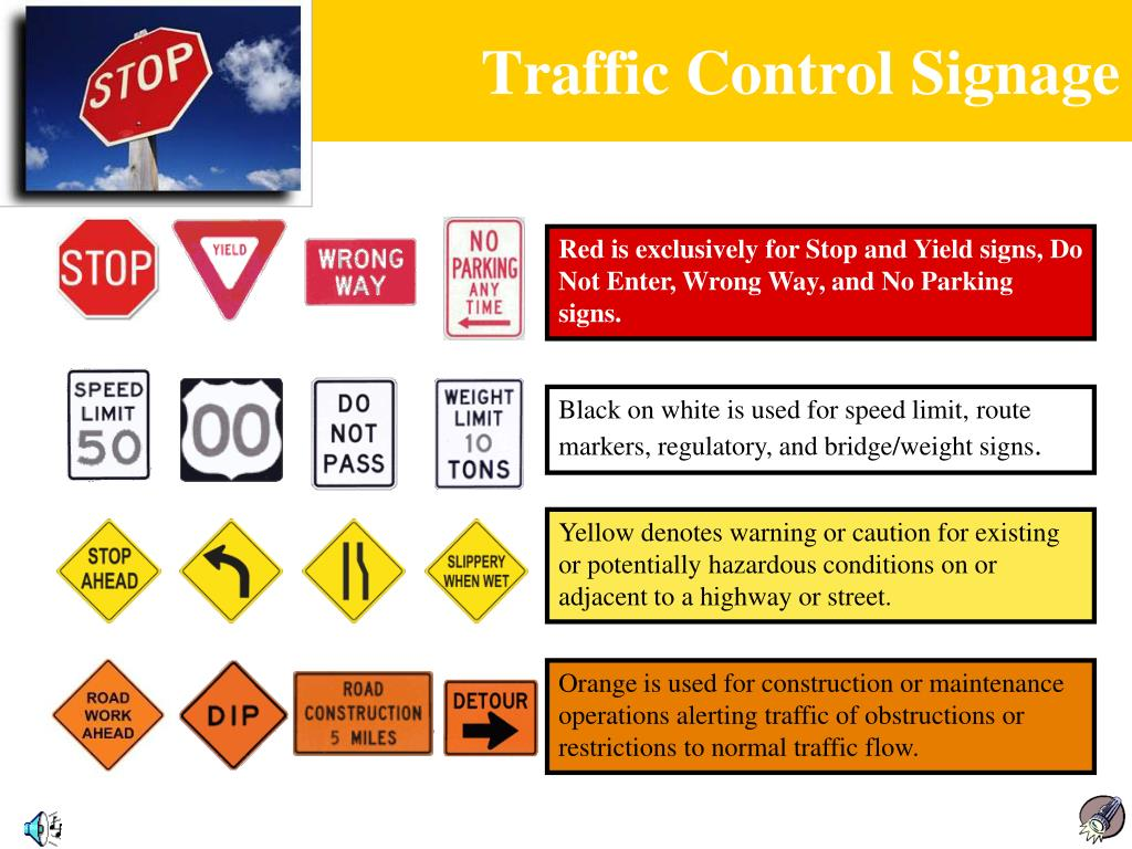 Red is exclusively for Stop and Yield signs, Do Not Enter, Wrong Way, and No Parking signs.