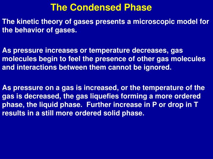 the condensed phase n.