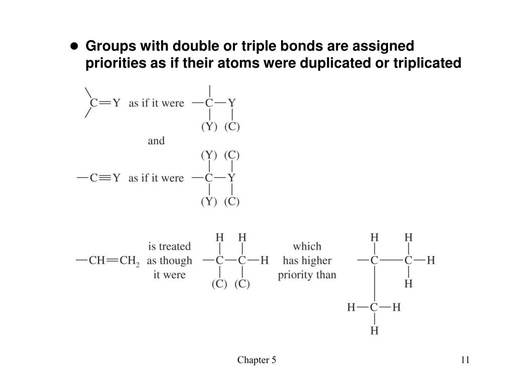 Groups with double or triple bonds are assigned priorities as if their atoms were duplicated or triplicated