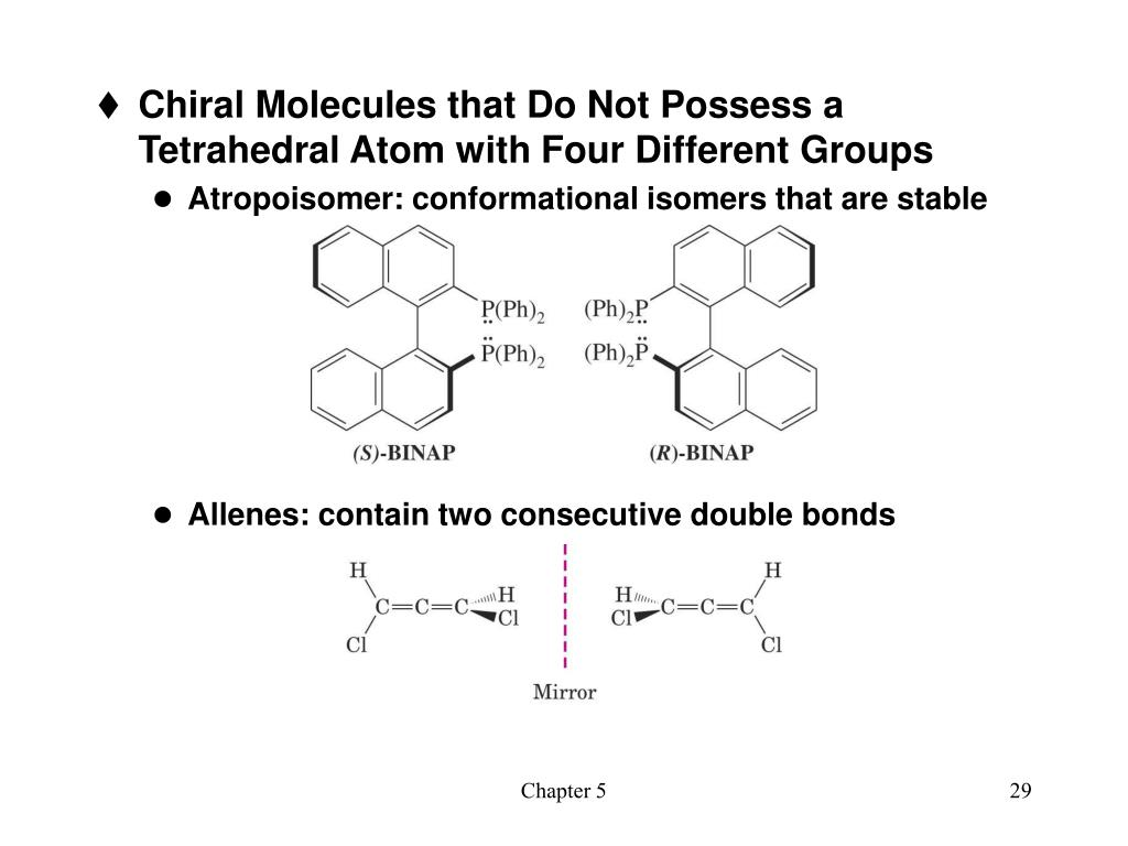 Chiral Molecules that Do Not Possess a Tetrahedral Atom with Four Different Groups