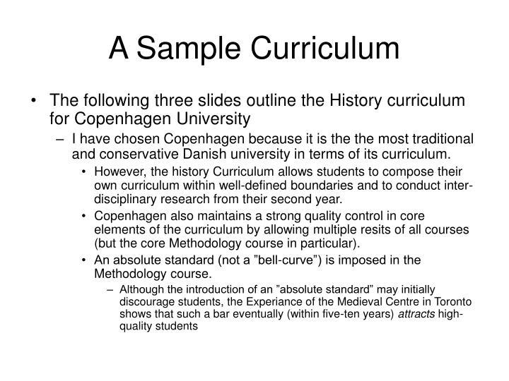 A Sample Curriculum