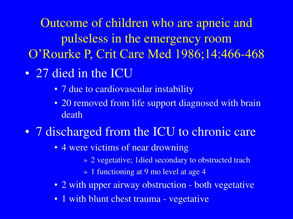 Outcome of children who are apneic and pulseless in the emergency room