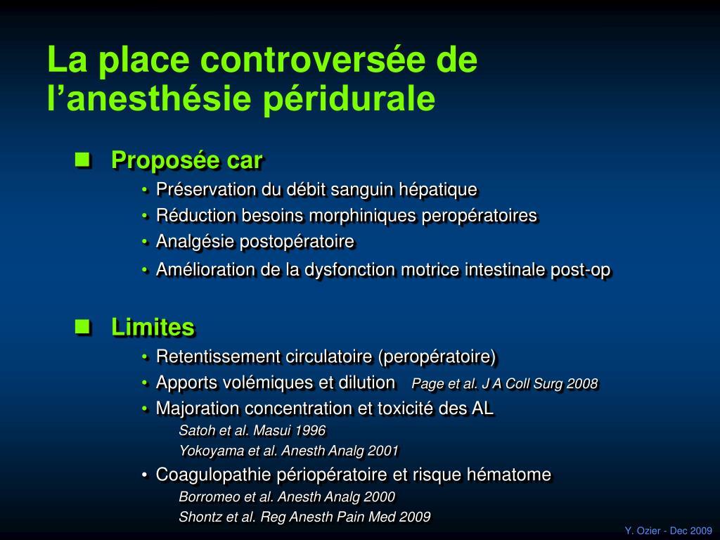 La place controversée de l'anesthésie péridurale