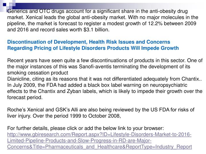 Generics and OTC drugs account for a significant share in the anti-obesity drug market. Xenical lead...