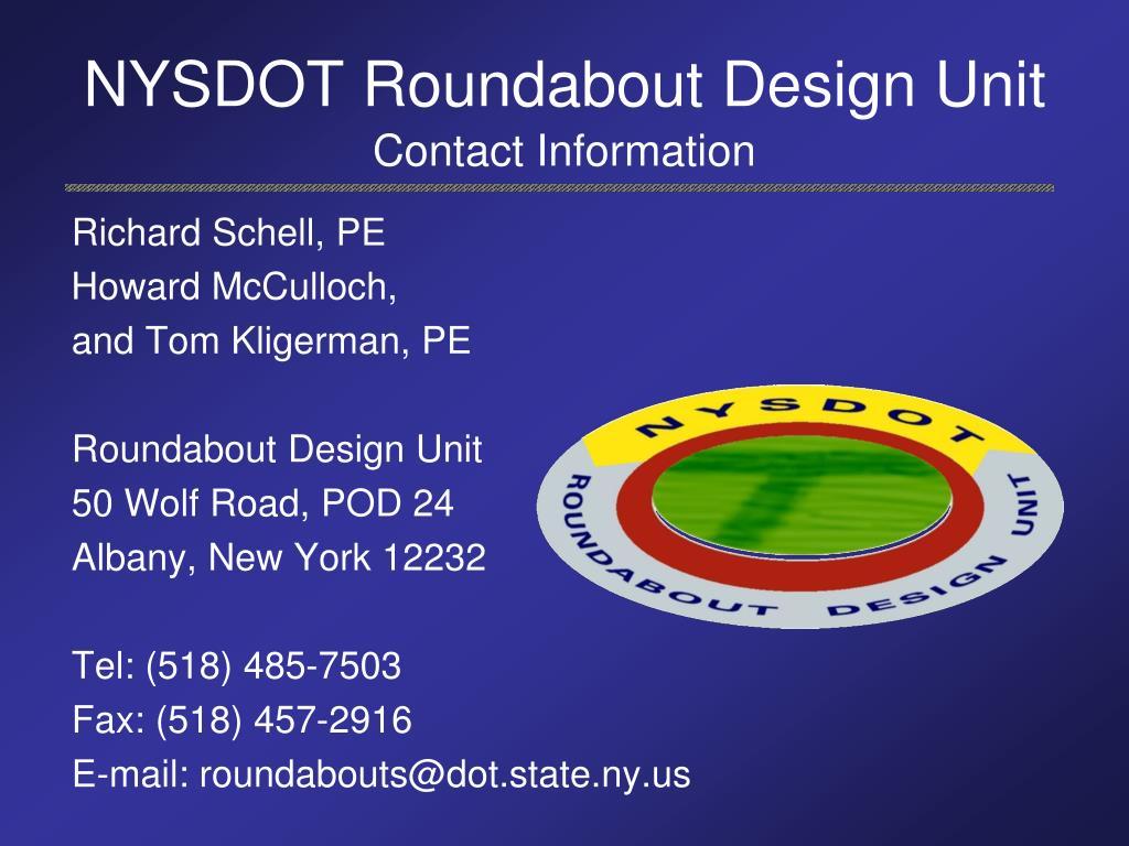 NYSDOT Roundabout Design Unit
