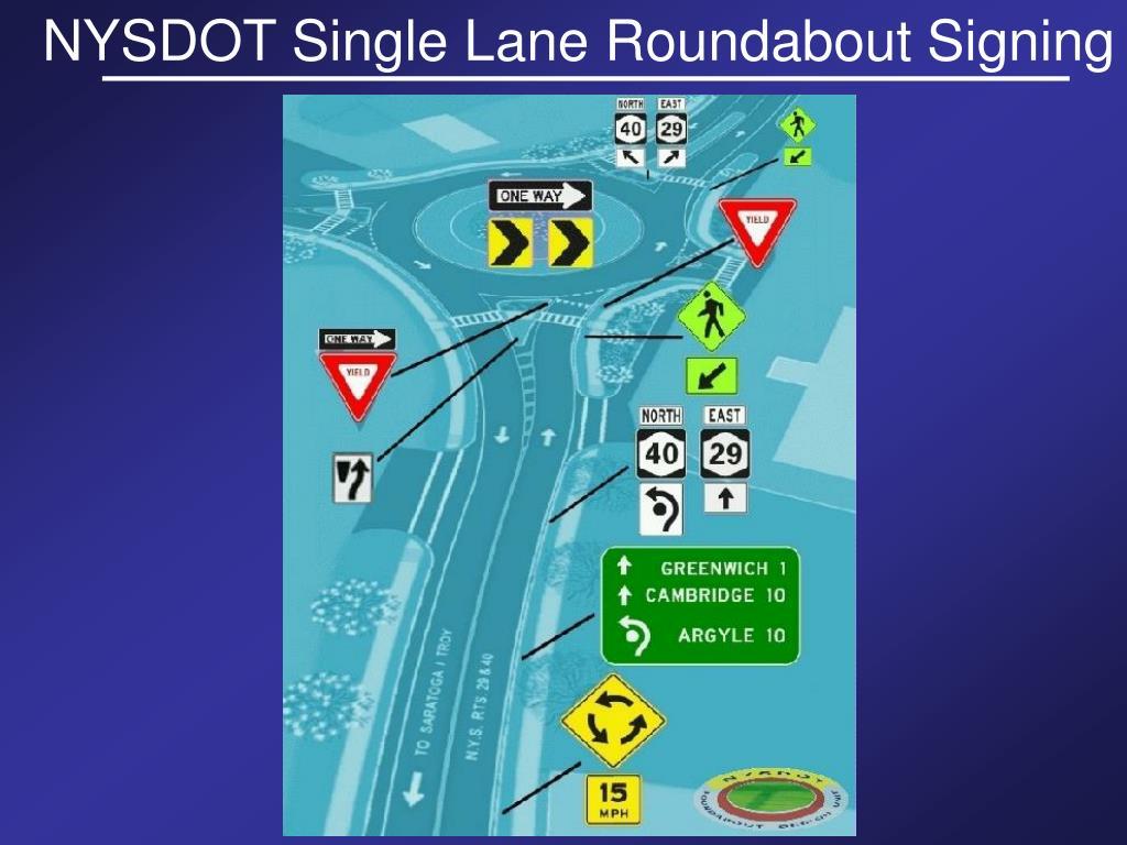 NYSDOT Single Lane Roundabout Signing
