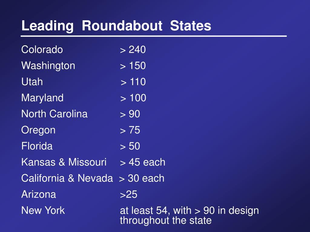 Leading  Roundabout  States
