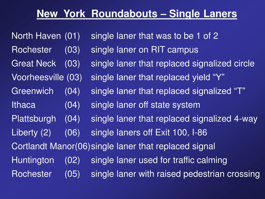 New  York  Roundabouts – Single
