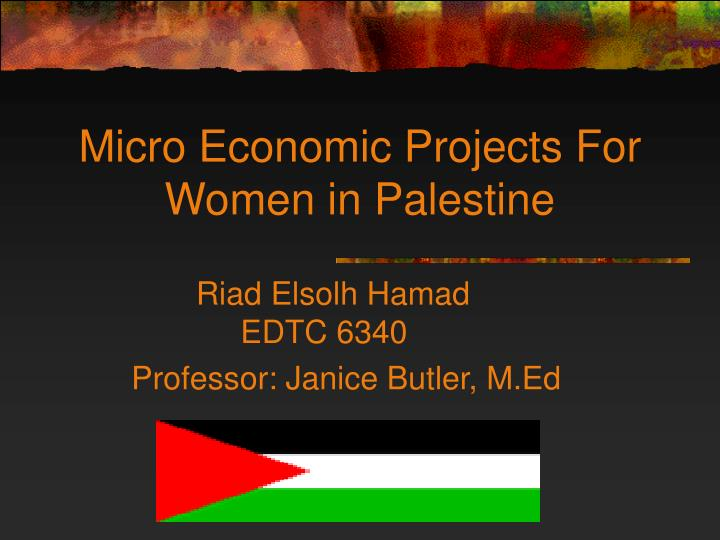 micro economic projects for women in palestine n.