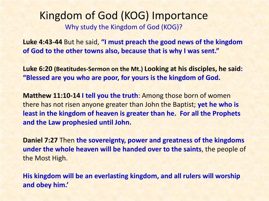 Kingdom of God (KOG) Importance