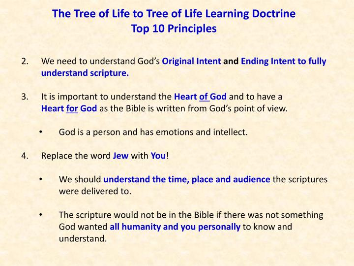The tree of life to tree of life learning doctrine top 10 principles3