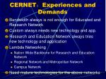 cernet experiences and demands