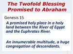 the twofold blessing promised to abraham