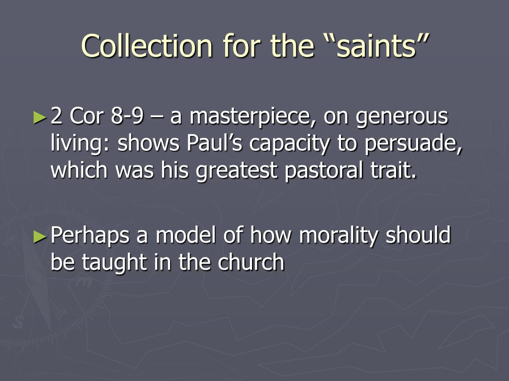"Collection for the ""saints"""