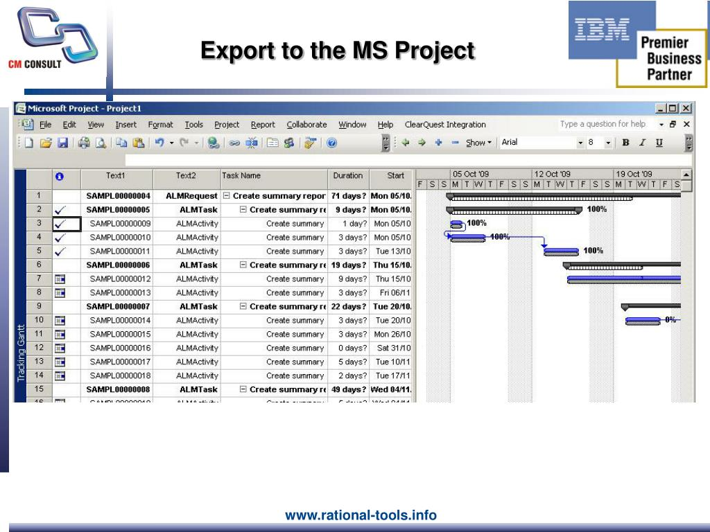 Export to the MS Project