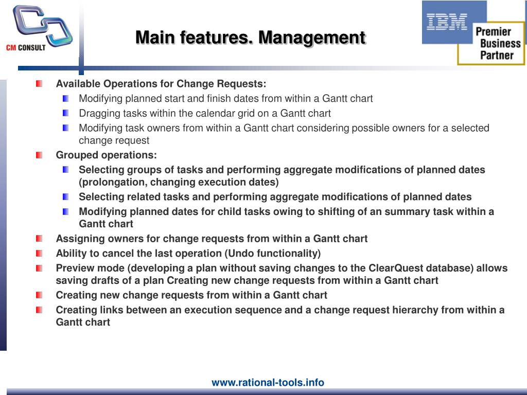 Main features. Management