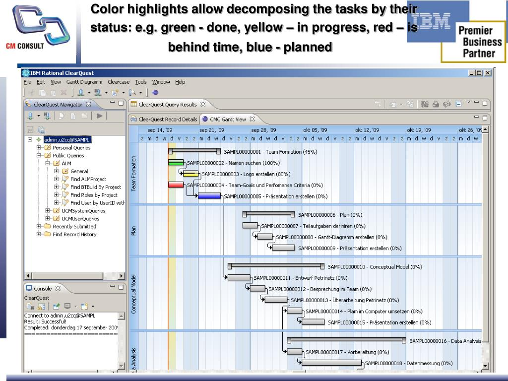 Color highlights allow decomposing the tasks by their status: e.g. green - done, yellow – in progress, red – is behind time, blue - planned
