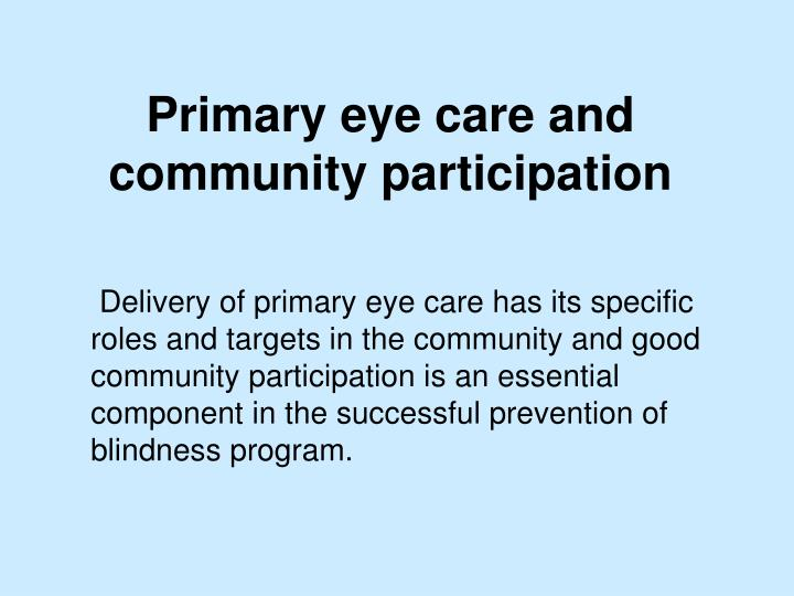Primary eye care and community participation2