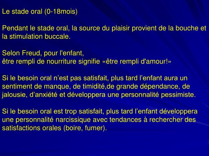 Le stade oral (0-18mois)