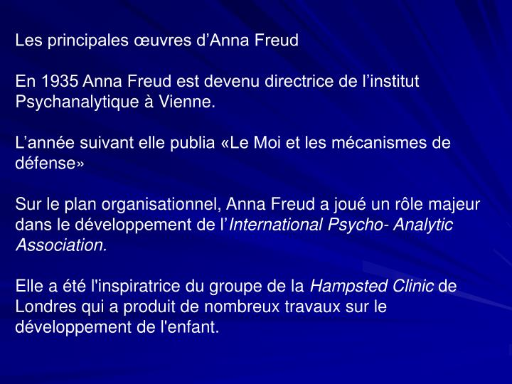 Les principales œuvres d'Anna Freud