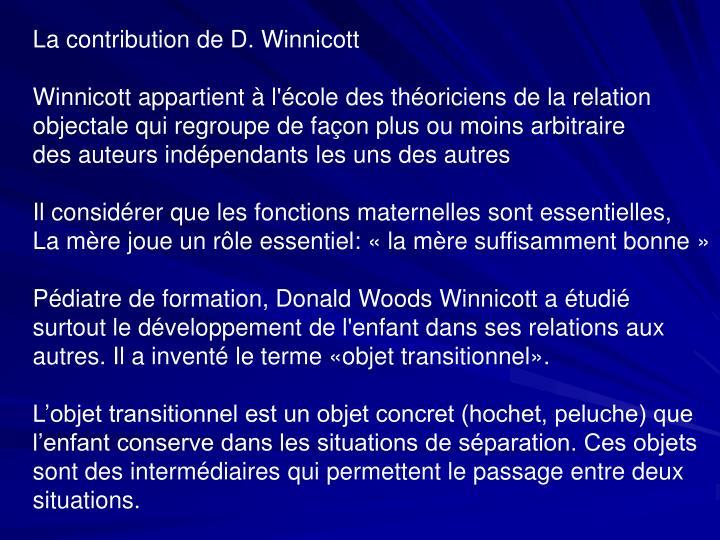 La contribution de D. Winnicott