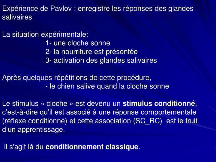 Expérience de Pavlov : enregistre les réponses des glandes salivaires