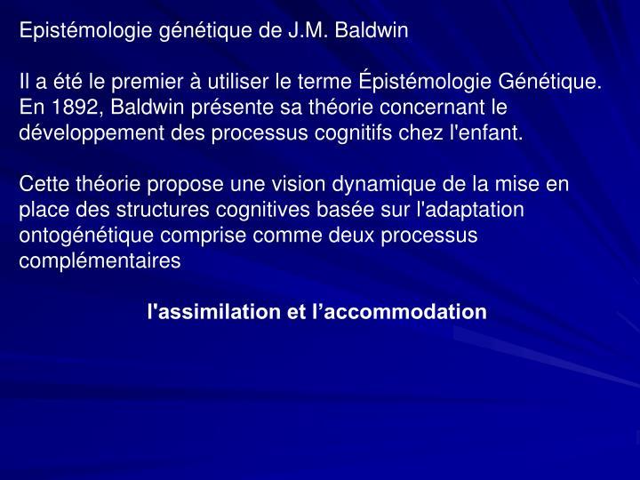 Epistémologie génétique de J.M. Baldwin