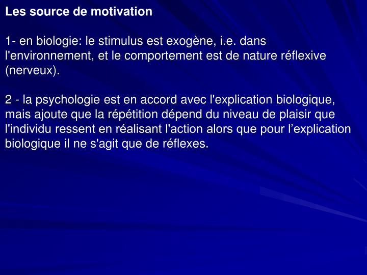 Les source de motivation