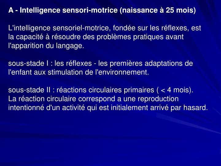 A - Intelligence sensori-motrice (naissance à 25 mois)