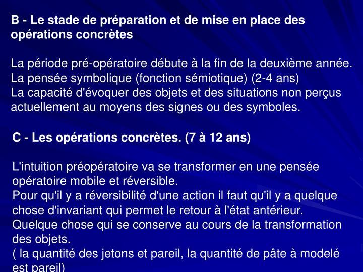 B - Le stade de préparation et de mise en place des opérations concrètes