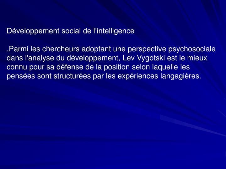 Développement social de l'intelligence