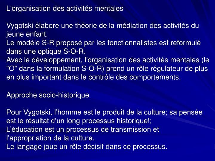 L'organisation des activités mentales