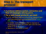 step 1 the transport protocol