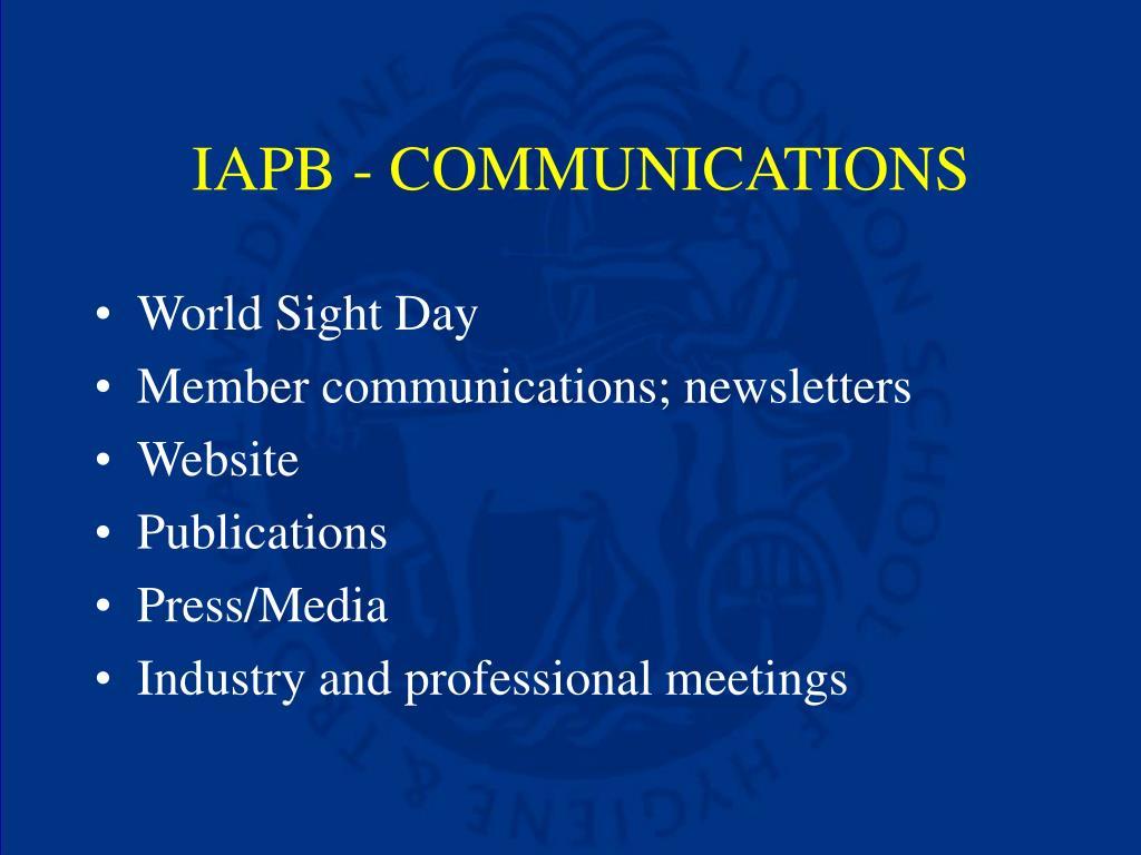 IAPB - COMMUNICATIONS