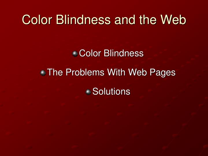 Color blindness and the web2