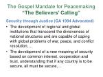 the gospel mandate for peacemaking the believers calling10