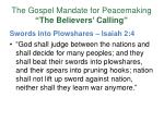 the gospel mandate for peacemaking the believers calling7