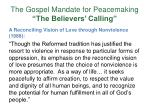the gospel mandate for peacemaking the believers calling9