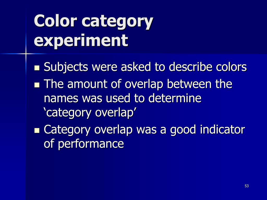 Color category experiment