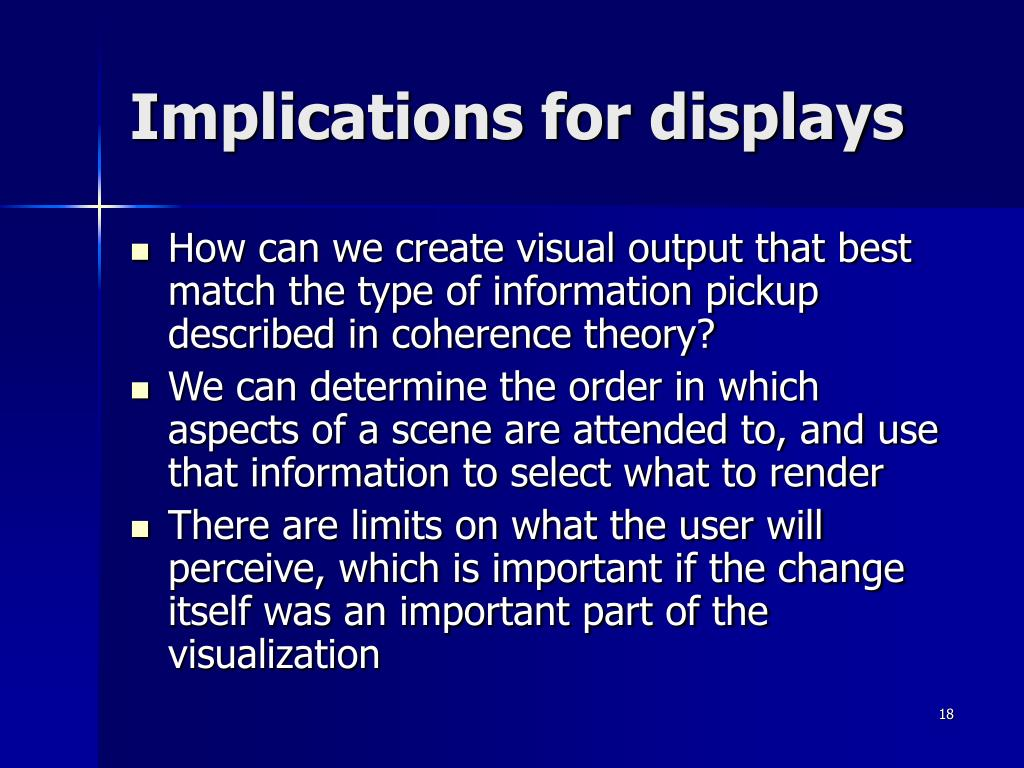 Implications for displays