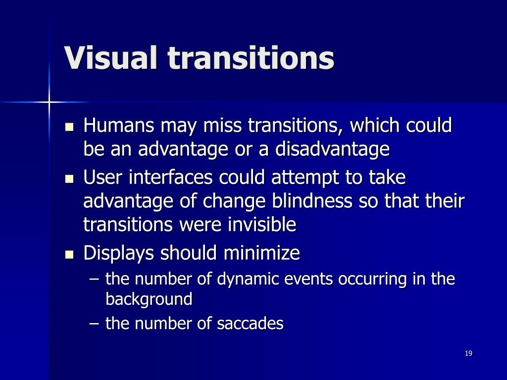 Visual transitions