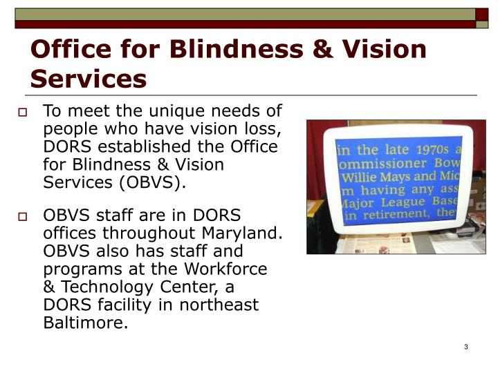Office for blindness vision services