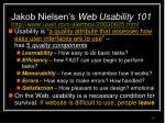 jakob nielsen s web usability 101 http www useit com alertbox 20030825 html